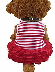 cheap -puppy princess dress pet dog striped wedding party doggie clothing