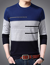 cheap -Men's Cardigan Pullover Sweater Knitted Braided Rainbow Striped Color Block Stylish Wedding Acrylic Fibers Long Sleeve Sweater Cardigans Crew Neck Fall Winter Blue Orange Red