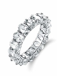 cheap -18k white gold/rose gold & gold plated eternity oval cut cubic zirconia ring (white gold, 6)