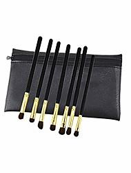 cheap -new 7 eye shadow brush set eye pony hair professional eye brush eye set brush with brush bag (black handle gold tube(bag))