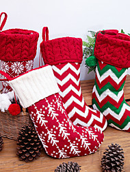 cheap -Christmas Toys Ornaments Christmas Holiday Stockings Christmas Hanging Bags Elk Snowflake Striped Gift Decoration Party Favors Felt 1 pcs Kid's Adults 22*40cm Christmas Party Favors Supplies