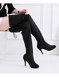 cheap -Women's Latin Shoes Jazz Shoes Dance Boots Boots Buckle Slim High Heel Black Buckle