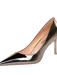 cheap -Women's Heels Stiletto Heel Pointed Toe Sexy Daily Patent Leather Solid Colored Black Champagne Gold / 2-3