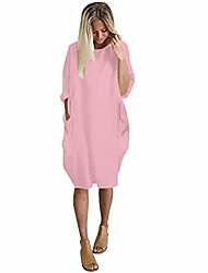 cheap -for summer dress womens long tops pocket loose dress ladies crew neck casual dress plus size (pink, medium)