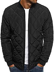 cheap -men's diamond quilted puffer bomber jacket full zip up softshell padded coat (medium, black)