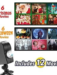 cheap -Christmas Halloween Laser Projector 12 Movies Disco Light Mini Window Home Theater Projector Indoor Outdoor Wonderland Window Projector