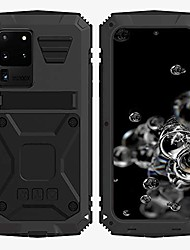 cheap -samsung s20 ultra metal bumper silicone case hybrid military shockproof heavy duty rugged defender case built-in screen protector stand (black, s20 ultra)