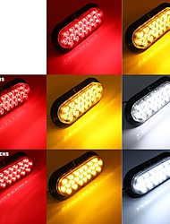 cheap -2 Pcs 24 LED 4.8W 6000K Oval Clear Lens Red Parking Brake Tail Light Camper Dump ATV