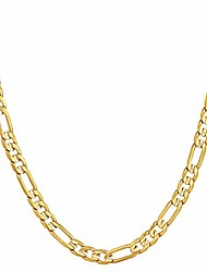 cheap -lifetime jewelry 4mm figaro chain necklace 24k gold plated for men women & teen (gold, 26)