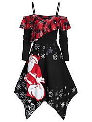 cheap -Women's Strap Dress Knee Length Dress Black Blue Purple Red Green Long Sleeve Print Print Fall Off Shoulder Casual Christmas 2021 S M L XL XXL 3XL 4XL 5XL