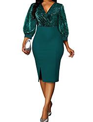 cheap -Women's Sheath Dress Knee Length Dress Blue Blushing Pink Green Long Sleeve Solid Color Patchwork Summer V Neck Elegant Sexy Lantern Sleeve 2021 S M L XL XXL 3XL 4XL 5XL / Plus Size
