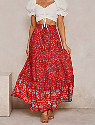 cheap -Women's Basic Boho Cotton Swing Skirts Floral Ruched Patchwork Red Khaki Dusty Blue / Maxi / Loose