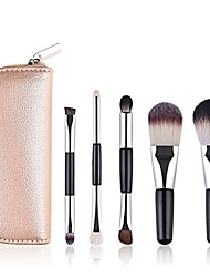 cheap -face powder foundation blending blush dual-ended eyeliner highlights makeup cosmetic brush set with travel case pouch (champagne)