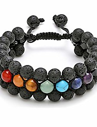 cheap -jovivi 7 chakra bracelet multi-layer black obsidian lava rock stone essential oil diffuser bracelet natural yoga beads healing energy crystals stretch bracelet