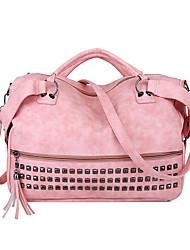 cheap -Women's Bags PU Leather Top Handle Bag Zipper Date Office & Career Handbags Red Blushing Pink Light Gray Dark Gray