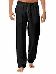 cheap -men linen long pants | casual solid elastic waist drawstring trousers | summer loose straight-leg beach yoga pants (xxx-large, black)