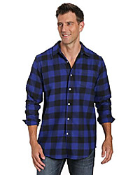 cheap -Men's Shirt Plaid / Check Long Sleeve Street Regular Fit Tops Casual Fashion Breathable Comfortable Wine Red Blue Orange / Machine wash / Wash separately / Washable / Holiday / Causal