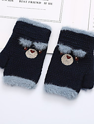 cheap -2pcs Kids Unisex Active Cartoon Embroidered / Knitted Knitwear Gloves Purple / Blushing Pink / Orange One-Size