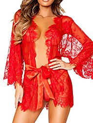 cheap -sexy lingerie lace kimono sleepwear robe nightgown women floral sheer thong underwear (l, red)