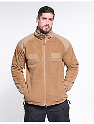 cheap -men's military tactical fleece jacket warm many pockets outdoor hooded coat khaki