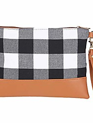 cheap -buffalo plaid clutch purse makeup bag for women cosmetic bag canvas portable checkered handbag with wrist strap(white&black)