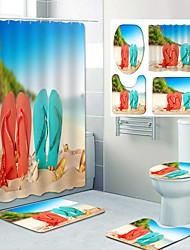 cheap -Couple Beach Shoes Pattern PrintingBathroom Shower Curtain Leisure Toilet Four-Piece Design