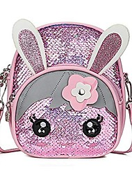 cheap -girls glitter sequins messenger backpack cute rabbit ears crossbody shoulder bag for kids