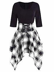cheap -women's half sleeve round collar lace up tartan plaid print asymmetrical mini dress (gray, l)