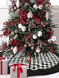 cheap -black and white buffalo plaid check christmas tree skirt 48 inches, country xmas tree decorations tree skirts double layers holiday ornaments