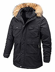 cheap -winter men's fur lining warm outdoor sports work coat clothes with fur collar and many pockets (black,xxx-large)