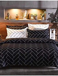 cheap -Line Print 3-Piece Duvet Cover Set Hotel Bedding Sets Comforter Cover with Soft Lightweight Microfiber ,Full/Queen/King(Include 1 Duvet Cover and 1or 2 Pillowcases)