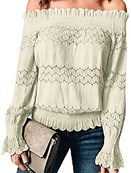 cheap -women long sleeve off shoulder blouses elegant lace hollow out shirts tops green 12