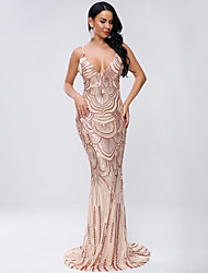 cheap -Sheath / Column Sexy Sparkle Prom Formal Evening Dress Spaghetti Strap Sleeveless Sweep / Brush Train Spandex Sequined with Sequin 2020