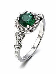 cheap -travet green faux crystal engagement ring for women square rhinestone proposal ring gem wedding band party jewlery size 6-10,green 7