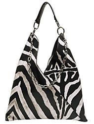 cheap -Women's Bags PU Leather Top Handle Bag Pattern / Print Chain Handbags Daily Black / White
