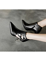 cheap -Women's Boots Stiletto Heel Pointed Toe Classic Daily Sequin Color Block PU Booties / Ankle Boots Walking Shoes Black / White / Black