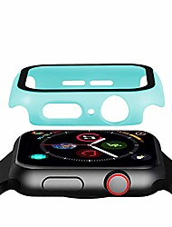cheap -anti-scratch tempered glass screen protector case matte finish hard pc protective bumper cover compatible with 44mm apple watch series 5/4, mint green