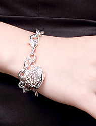 cheap -Bracelet 3D Heart Fashion Copper Bracelet Jewelry Silver For Christmas Halloween Party Evening Gift Date / Silver Plated