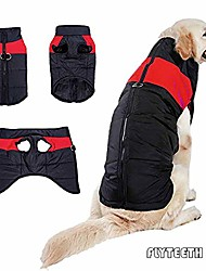 cheap -winter dog coat - waterproof dog coat cotton lined for warmth chest protector puffer dog puppy clothes. (l-9.9lb-(chest:18.11in,neck:14.96in,back:11.81in), red)