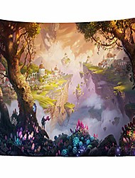 cheap -psychedelic mountain tapestry wall hanging - mushroom electric forest large tapestry wall decor tapestries magic land home wall decor for bedroom college dorm room decoration