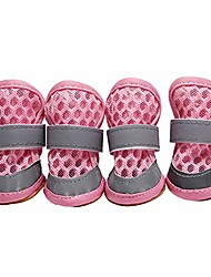 cheap -pet boots paw protector, casual dog cute anti-skid breathable soft shoes mesh sandals puppy footwear, for large medium small dog pink