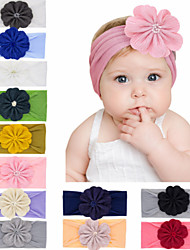 cheap -1pcs Toddler / Infant Girls' Active Black / White / Blue Floral / Solid Colored Pure Color Nylon Hair Accessories White / Black / Red One-Size