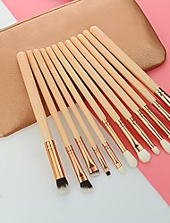 cheap -makeup brush set with cosmetic bag twelve different toothbrush shaped make up brushes in one set skin friendly fiber(12pcs/set) (pink)