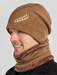 cheap -Men's Hiking Cap Ski Hat Beanie Hat 1 set Winter Outdoor Windproof Warm Soft Thick Neck Gaiter Neck Tube Skull Cap Beanie Solid Color Polyester Taffeta Black Burgundy Grey for Fishing Climbing Running