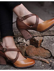 cheap -Women's Heels Chunky Heel Round Toe Casual Basic Daily Walking Shoes PU Solid Colored Brown / 2-3