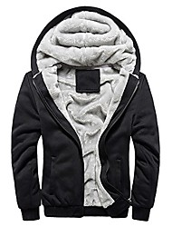 cheap -plus size mens hoodie winter warm fleece zipper sweater jacket outerwear coat(m~5xl) black
