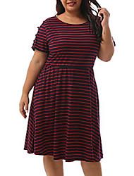cheap -women's short sleeves scoop neckline striped print plus size fit and flare dress nem191 (red stripe, 20w)