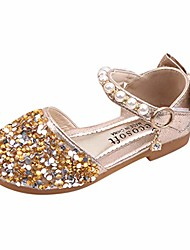 cheap -rained-toddler girls shiny bling bling princess dress shoes ballet flat mary jane closed toe sandals bowknot flat shoes gold
