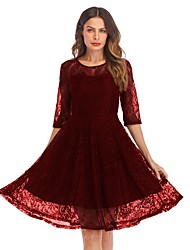 cheap -Women's A-Line Dress Knee Length Dress 3/4 Length Sleeve Solid Color Lace Summer Sexy 2021 Black Wine Navy Blue S M L XL XXL