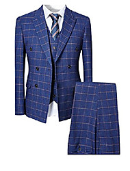 cheap -mens blue slim fit 3 piece checked suits double breasted vintage fashion & #40;xx-large, blue& #41;
